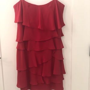 NWT BCBG Red Ruffle Dress with removal straps